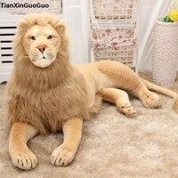 simulation lion plush toy large 125cm prone lion soft doll throw pillow birthday gift s0463