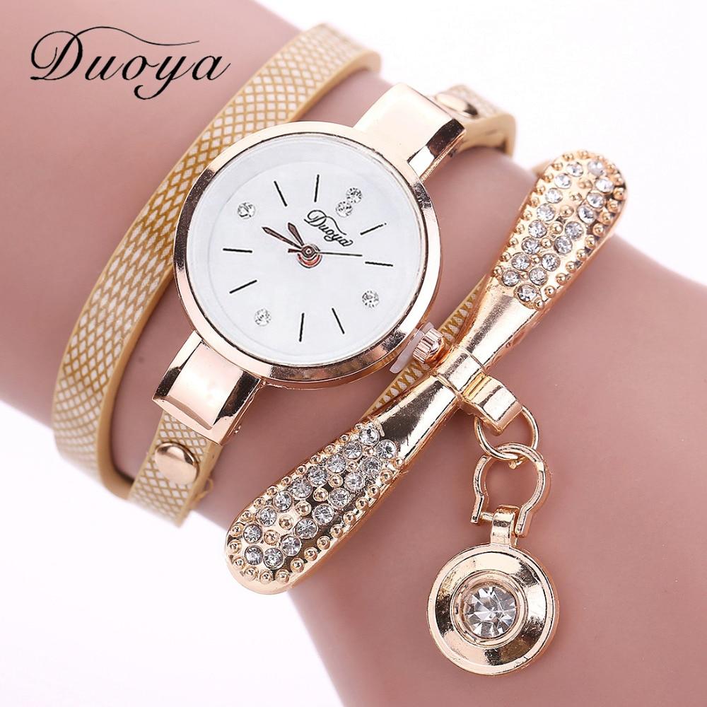 Duoya Brand Bracelet Watches For Women Luxury Gold Crystal Fashion Quartz Wristwatch Clock Ladies Vi