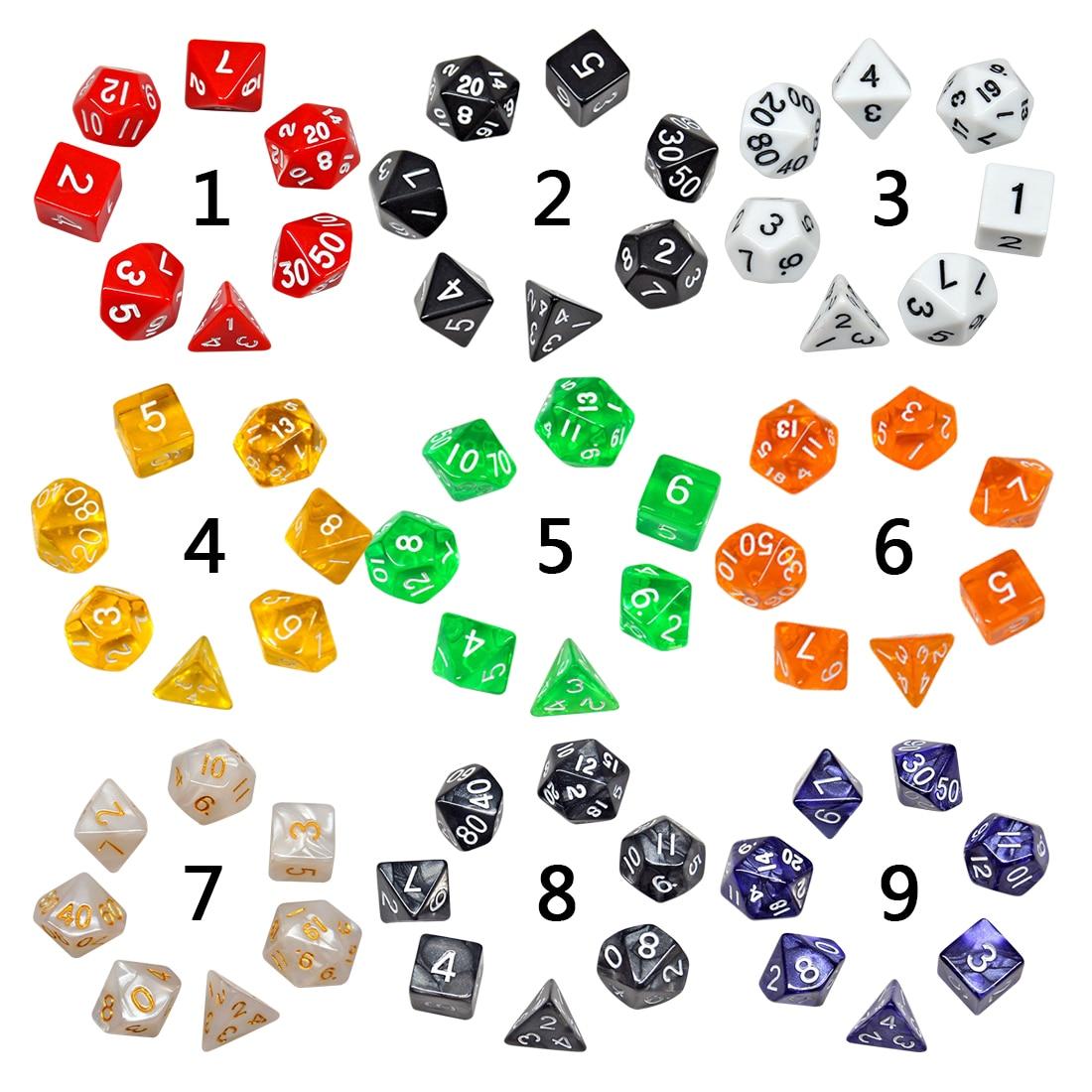 Juego de dados de 7 Uds con efecto nebulosa poker d & d d4 d6 d8 d10 d % d12 d20 dados de juego poliédricos