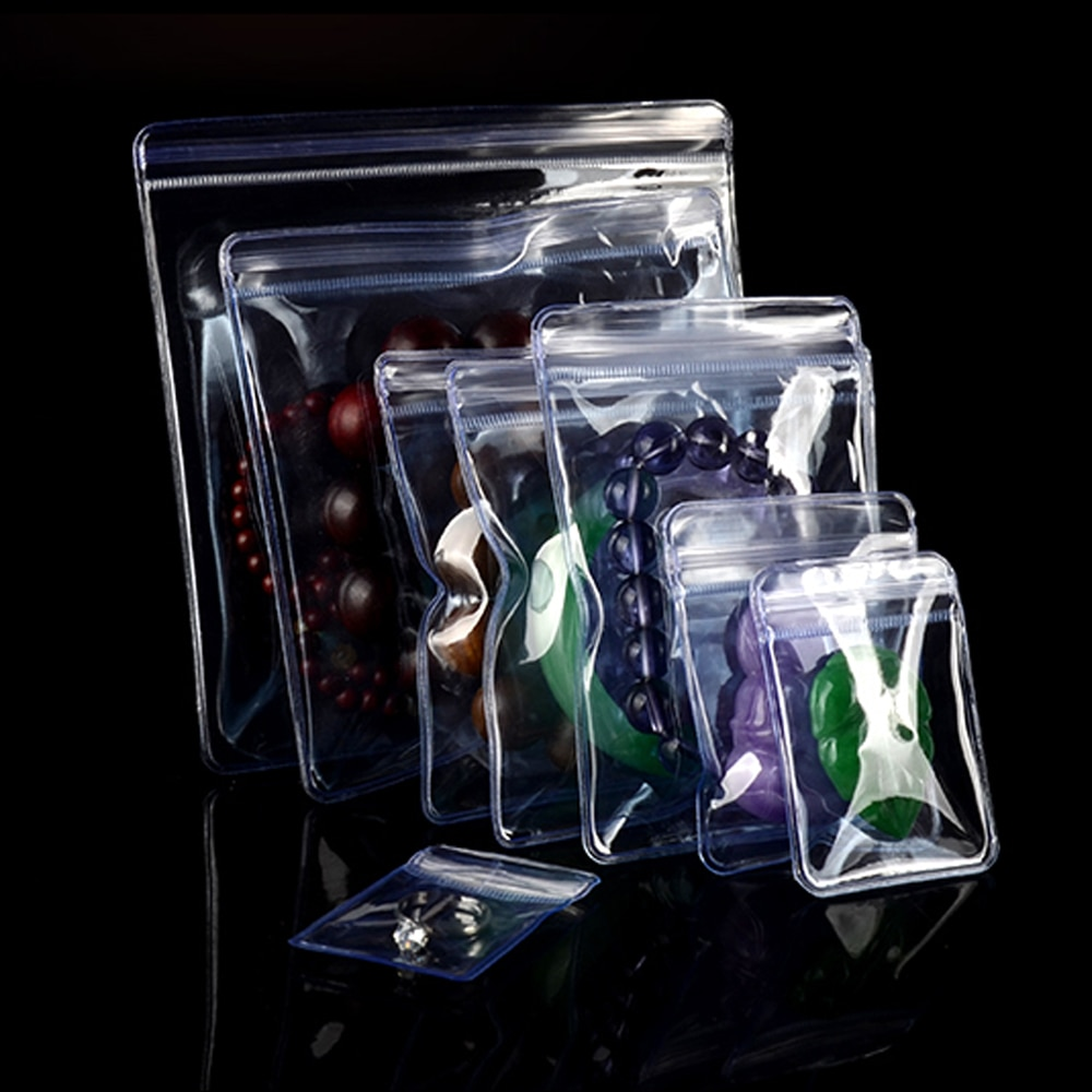Bolsas de plástico transparente PVC autosello transparente Anti-oxidación Zip Lock bolsa joyería pulsera Jade almacenamiento bolsa con cremallera