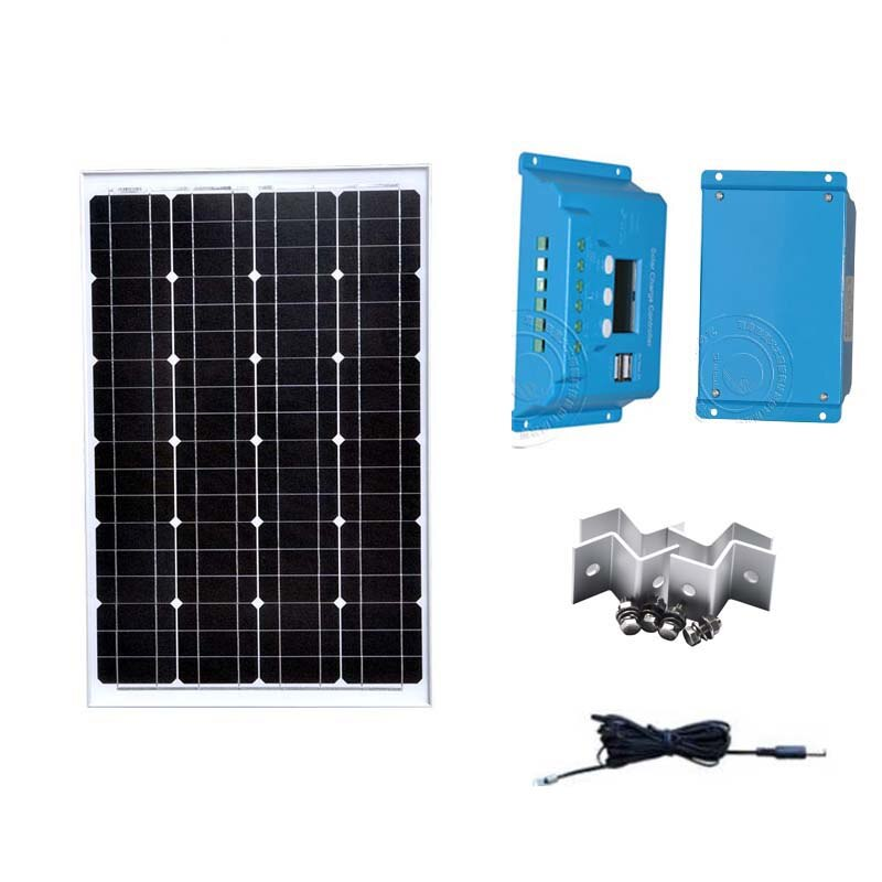 Free Shipping Solar Kit Zonnepaneel 12 Volt 60 Watt Solar Light Solar Battery Fountain Solar Controller 10A PV Cable Z Bracket
