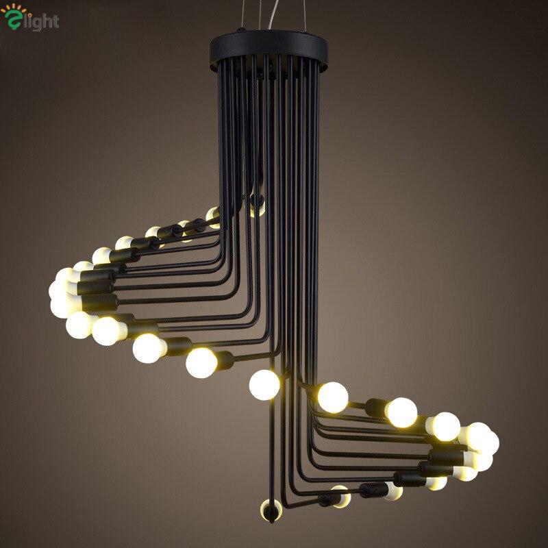 Candelabro de Espiral de LED negro de hierro pintado moderno para restaurante