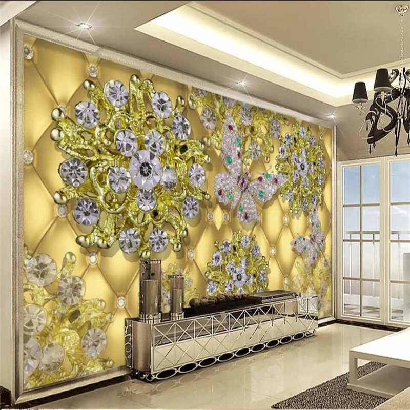 Beibehang 3D lujo oro joyería diamante flor TV fondo personalizado grande fresco papel pintado verde papel de pared para quarto