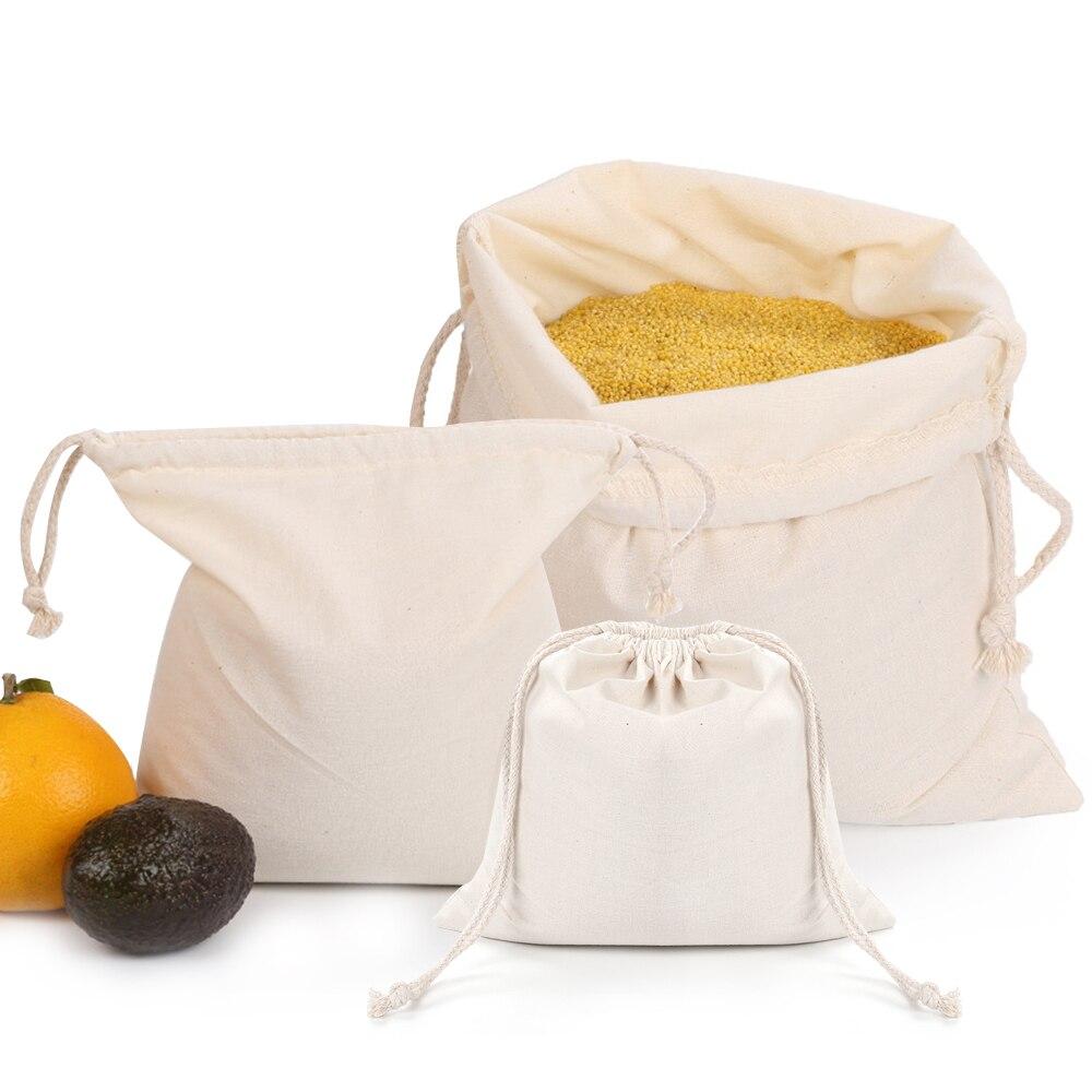 Reutilizável puro algodão produzir sacos casa cozinha drawstring sacola de compras 3 tamanhos frutas legumes saco de armazenamento eco-amigável