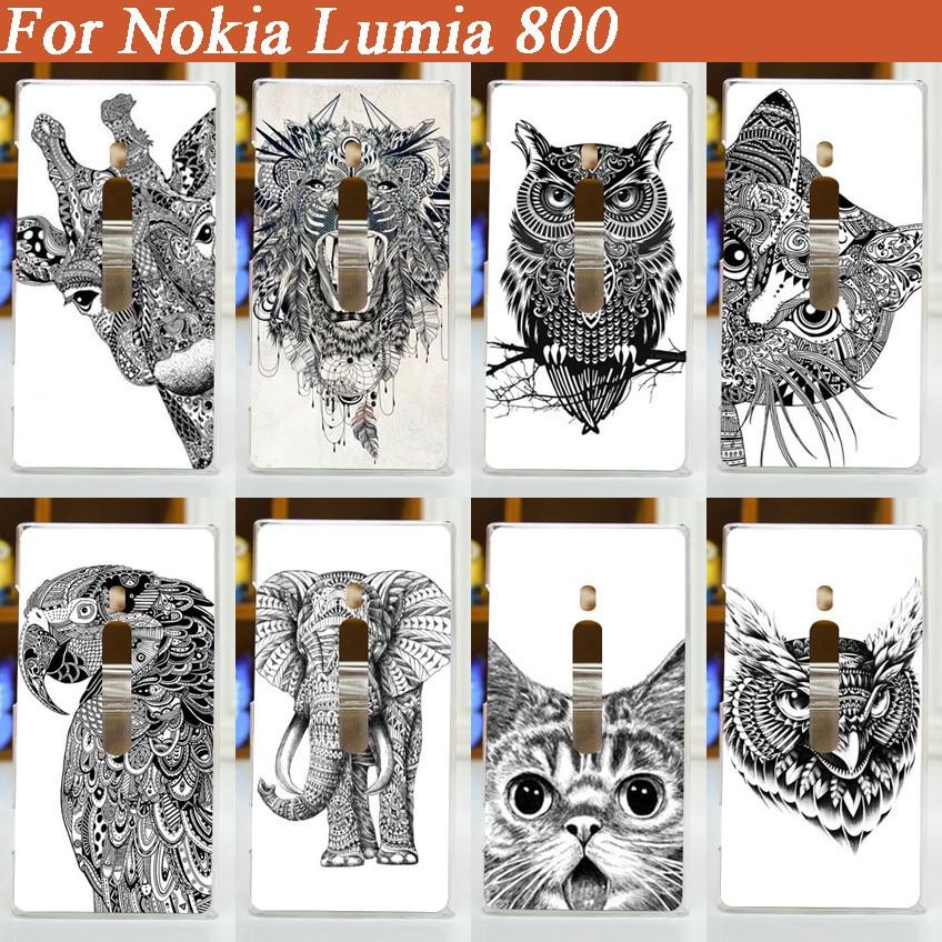 2015 nueva llegada cool caso para Nokia Lumia 800 blanco y negro...