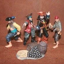 Solid pvc figuur SimulationThe simulatie model speelgoed gift pirates sets scène model speelgoed 5 stks/set