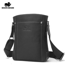 BISON DENIM Genuine Leather Luxury Male Bag Cowskin Messenger Bag iPad Shoulder Bag Business Crossbody bags N2750