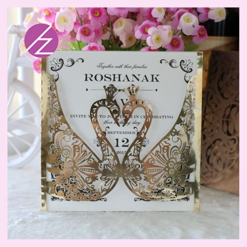 12 pçs/lote frete grátis design personalizado boa qualidade brilhante papel metálico cartões de convite casamento com amor romático swan design