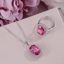 Ensembles de Bijoux fins pour femmes colliers pendentifs bague 925 topaze en argent naturel Rose rouge ovale Bijoux de mariage de pierres précieuses CCS005
