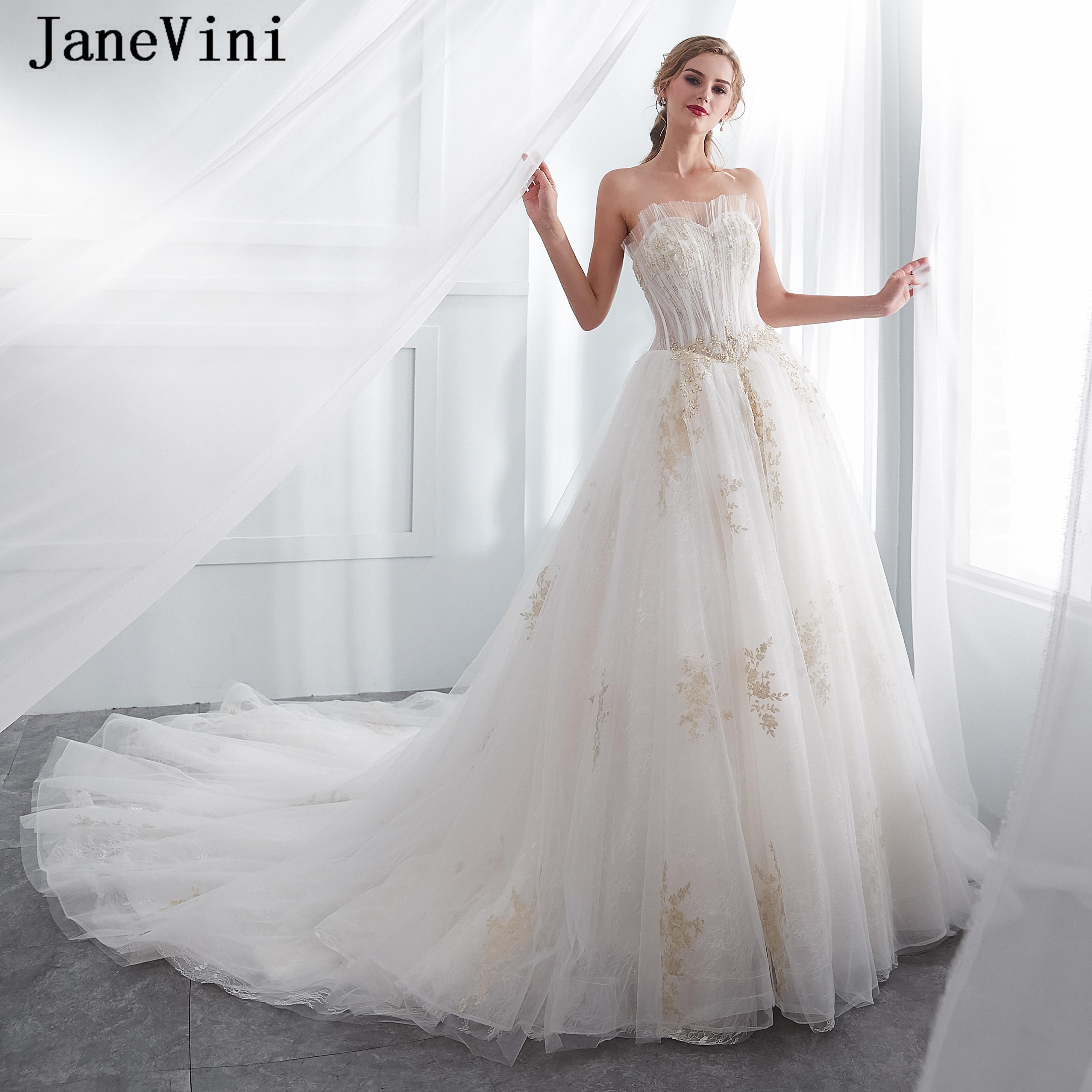 Vestidos De novia largos De encaje blanco De JaneVini 2019 vestidos De novia con apliques dorados con cuentas Vestido De novia De talla grande De Noiva
