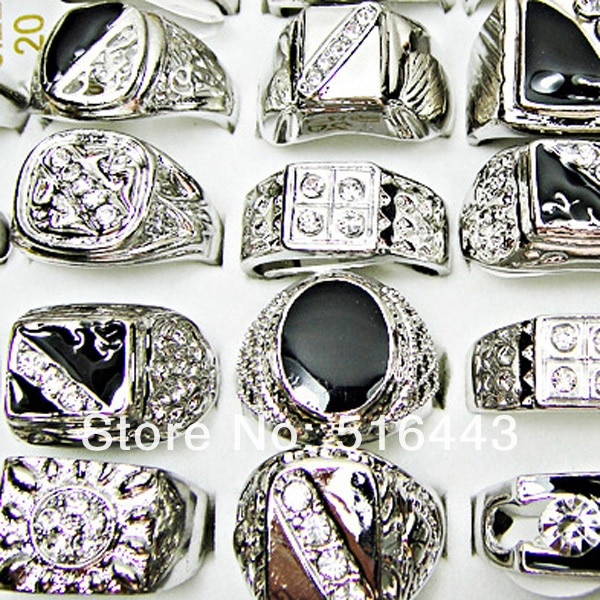 Big Promotions 50pcs Wholesale Fashion Jewelry Czech Rhinestones Enamel Silver Plated Mens Rings  A-036