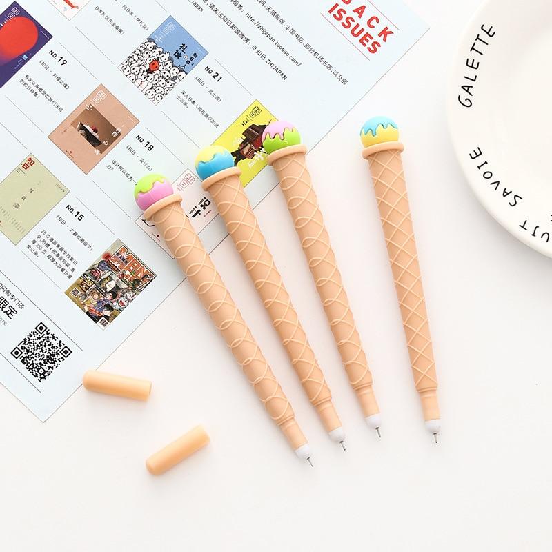 2 шт сладкое мороженое гелевая ручка школьные офисные поставки студенческие канцелярские принадлежности для письма черные чернила 0,38 мм