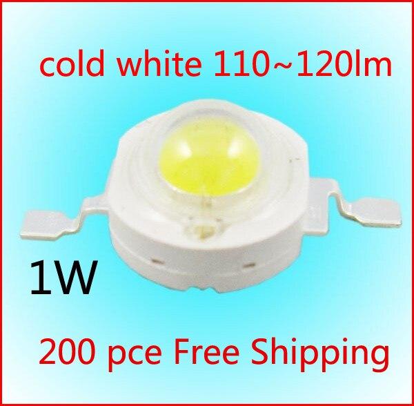 200 قطعة 1W عالية الطاقة الصمام مصدر الباردة الأبيض 5800-6500K 350mA DC3.00-3.5V 110-120LM مصنع بالجملة شحن مجاني
