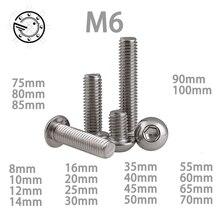 M6 Bolt A2-70 Knop Hoofd Socket Schroef Bolt SUS304 Rvs M6 *(8/10/12/14/16/20/25/30/35/40/45/50/55/60 ~ 100) mm