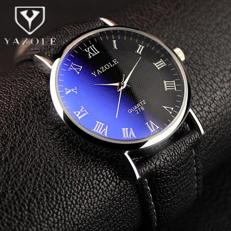 YAZOLE Mens Watch Men Watch Luxury Blue Glass Watches Fashion Leather Sport Watch Clock relogio masculino relojes hombre