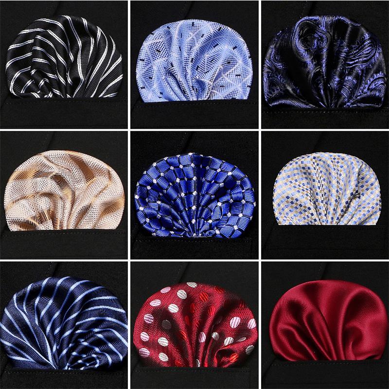 Новые мужские носовые платочки из 100% шелка, с цветочным узором в горошек, в полоску, с карманами, для костюмов, курток, свадебных вечеринок, деловых встреч