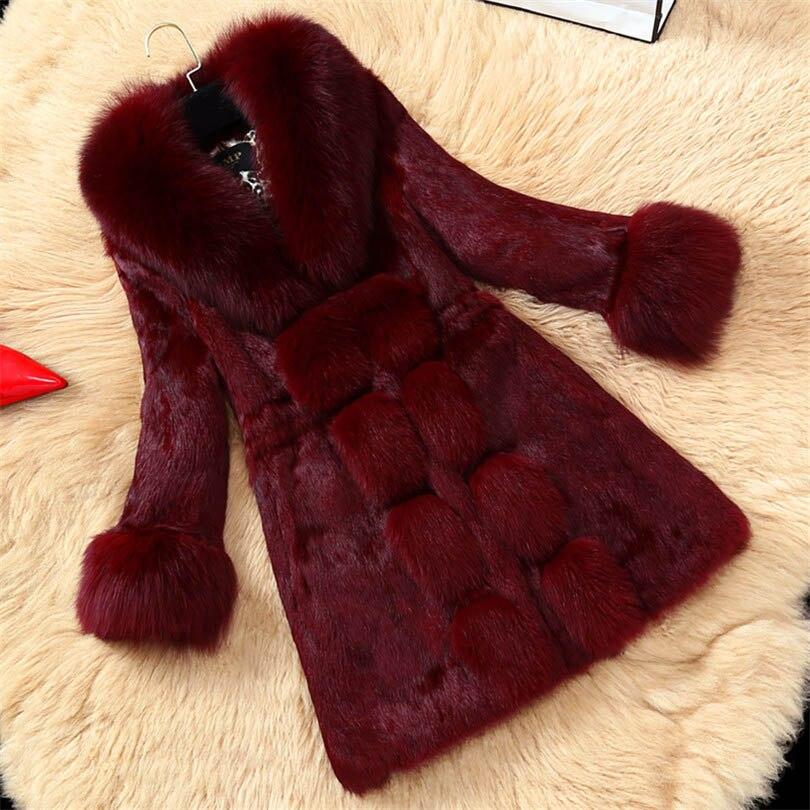 Женское пальто из искусственного меха кролика Clobee длинное Рекс зимняя верхняя