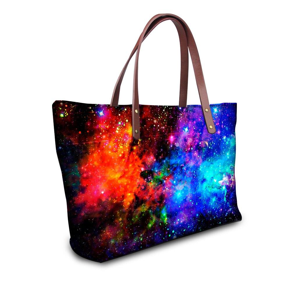 Fashion Galaxy Universe Star Print Handbag for College Girls,Casual High Quality Shopping Travel Tote Designer Women Handle Bags