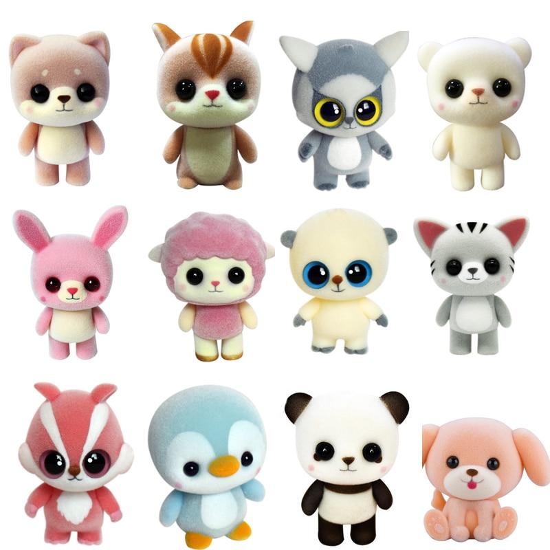 New Plastic Flocking Doll Cute Dog Duck Panda Sheep Penguin Children Plush Toy Novelty Gag Birthday