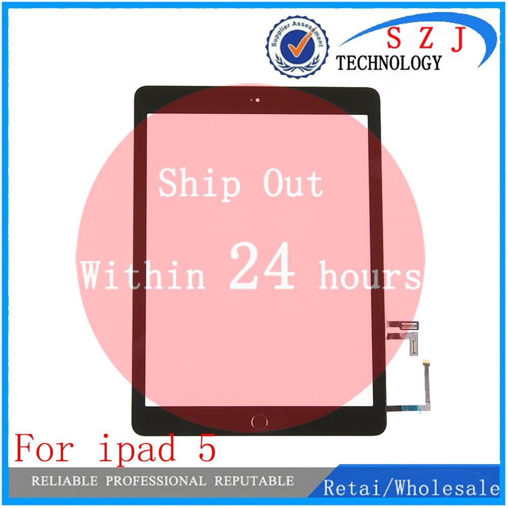 Nuevo Touch panel de cristal para pantalla para iPad aire 1 para iPad 5 reemplazo + Home + botón Flex adhesivo Asamblea envío gratis 10 unids/lote