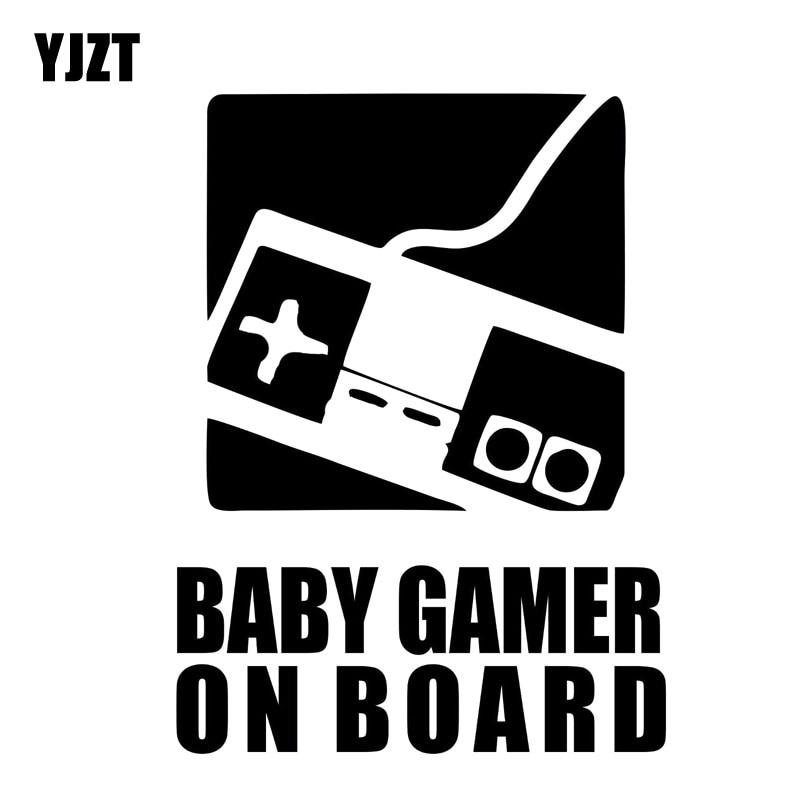 Yjzt 9.4Cm * 12.7Cm Car Window Vinyl Decal Sticker Baby Gamer Op Board Zwart/Zilver C10-00762