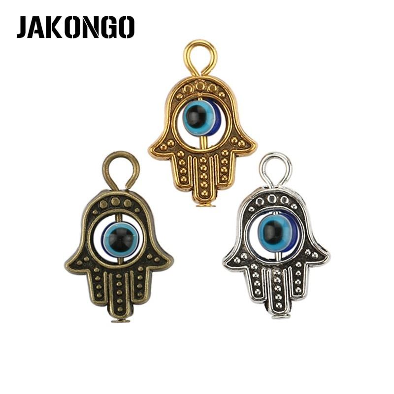 Abalorio de mano de Fátima Hamsa de Color plata antigua de JAKONGO, abalorio de Ojo Azul malvado apto para colgante, collar, pulsera, accesorios de joyería DIY