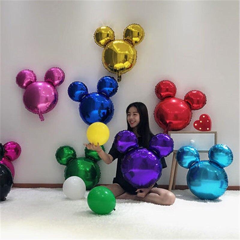 10 шт. мини-шары с головой Микки Мауса из алюминиевой фольги, детские игрушки Микки Мауса, шары для дня рождения, украшения, Мультяшные шары с ...