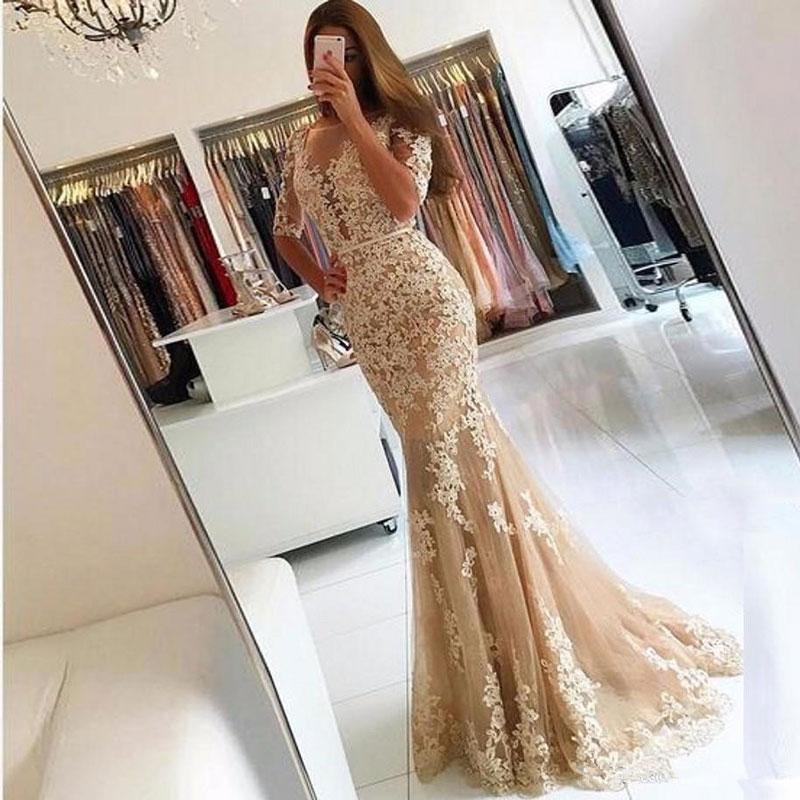 New arrival lace Evening Dresse Formal half sleeves vestido noiva sereia lace prom party robe de soi