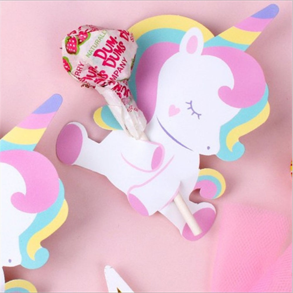 50pcs/pack Unicorn Beer Lollipop Decoration Cards Cartoon Animal Candy Birthday Party Decorations Kids Favors