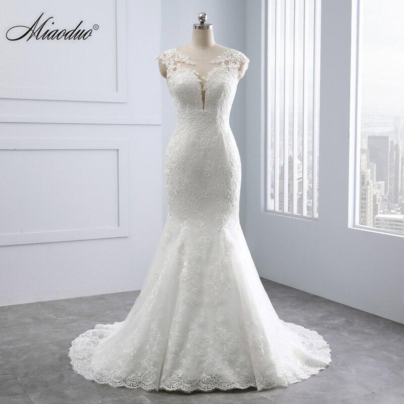 Vestidos de novia Miaoduo escote corazón Espalda descubierta, aplicaciones de encaje perlas vestido de novia real vestido de novia blanco sirena vestido de boda