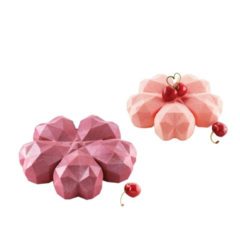 Новая силиконовая форма для торта в форме бриллианта для выпечки сердце форма для Мусса жаропрочная посуда для десерта Свадьба День святог...