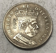 1891 Eritrea 1 Lira - Umberto I Silver Copy Coin