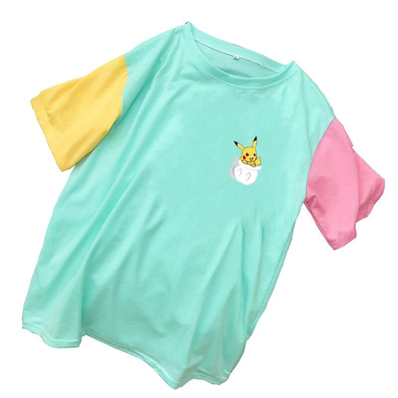 Nueva moda camisetas de punto multicolor para mujer, Camiseta de algodón de manga corta con estampado de Pikachu de dibujos animados Kawaii de verano para mujer Harajuku