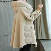 bronzing granule sheep shearing fur wool coat female long section 2019 new winter fox fur hooded jacket