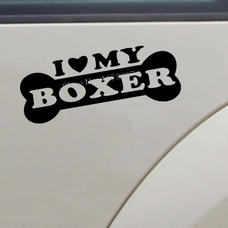 "HotMeiNi pegatina al por mayor I LOVE MY BOXER vinilo calcomanía novedad coche ventana parachoques de pared divertida familia cachorro Animal perro 8*3"""
