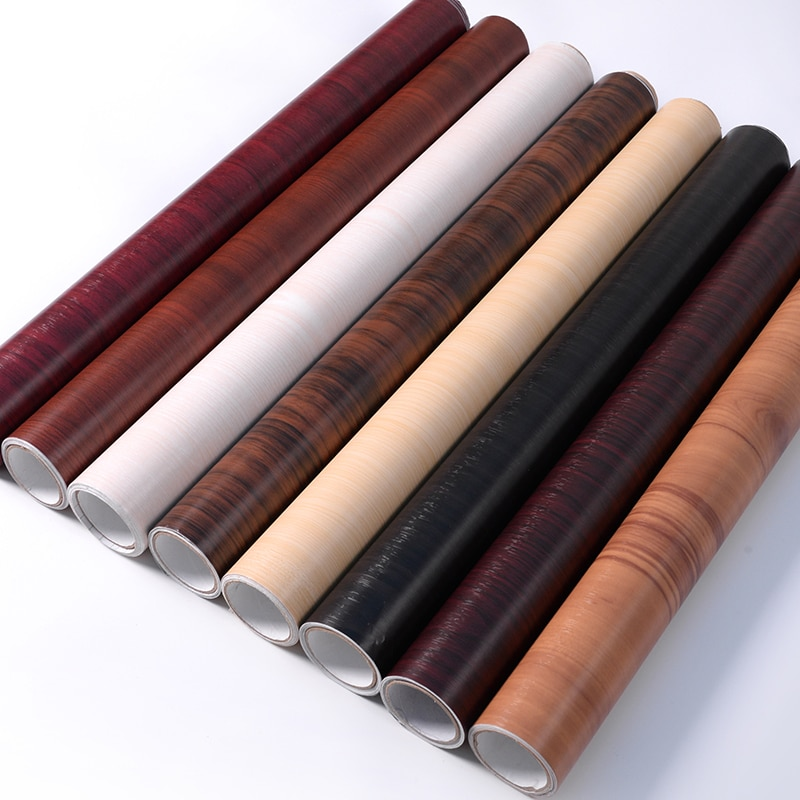 Papel tapiz de grano de madera autoadhesivo de 5/10 M pegatinas de vinilo para muebles antiguos armario de puerta de madera película impermeable de PVC para escritorio