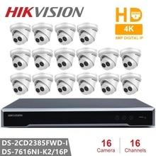 Hikvision 16CH 4K POE NVR 키트 CCTV 보안 시스템 16PCS 야외 8MP 네트워크 터렛 IP 카메라 POE P2P 비디오 감시 시스템