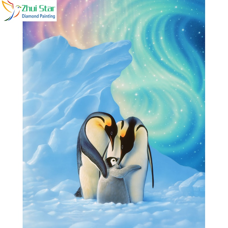 Zhui Star 5D DIY cuadro completo de diamante, pintura de punto de cruz con pingüino, bordado familiar, mosaico de diamantes de imitación, decoración para el hogar, regalo