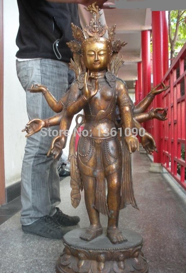 "Xd 00656 41 ""Grande Tibet Budismo Bronze Gild braço-8 Mão Guan yin Kwan Yin-estátua de Buda"