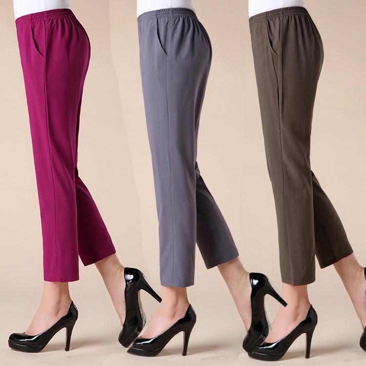 Quinquagenarian Women's Summer Ankle Length Trousers Pants Mother Plus Size Elastic Waist Loose Pant Solid Color Pencil Capris