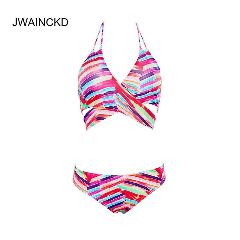 JWAINCKD Sexy mujer traje de baño Bikini traje de baño 2018 nuevo brasileño Push Up Bikinis Set mujer Halter color raya ropa de playa
