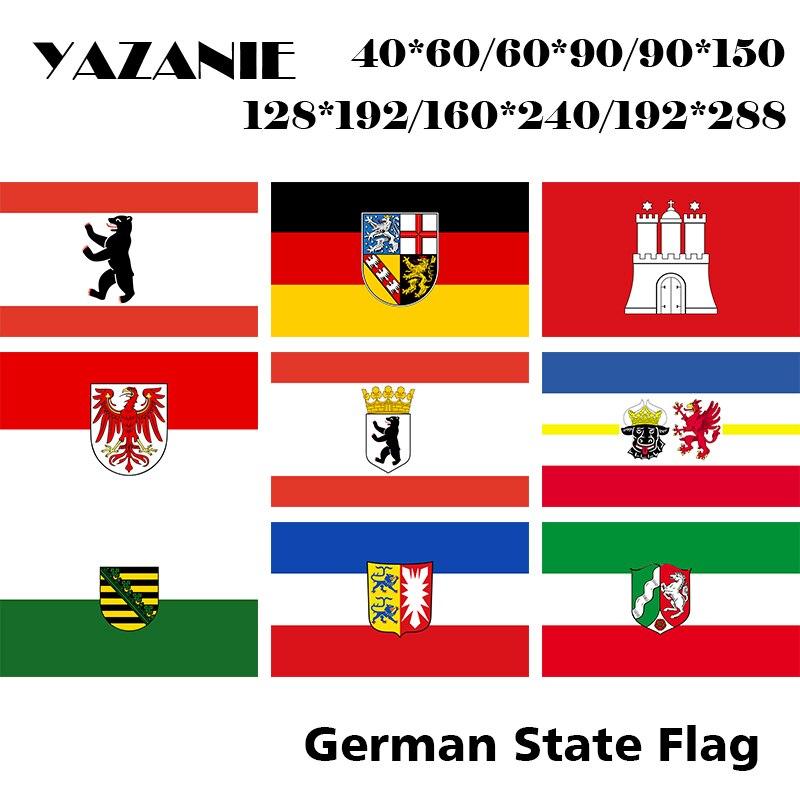 YAZANIE, bandera del estado alemán de doble cara, Berlin Saarland, Hamburgo, Brandenburg, Mecklenburg, Vorpommern, Sachsen, banderas de Alemania Civil