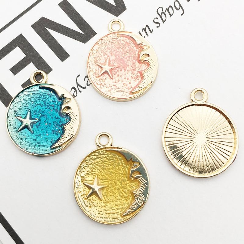 10 Uds encantos de esmalte de cielo estrellado aleación de oro gota de aceite cielo Luna estrella colgantes redondos para pulseras pendientes DIY joyería fabricación YZ043