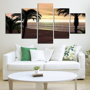 No Frame 5 Panel Wall Art Painting blue sky and sunset sea Pictures print On Canvas Decor painting large living room no frame