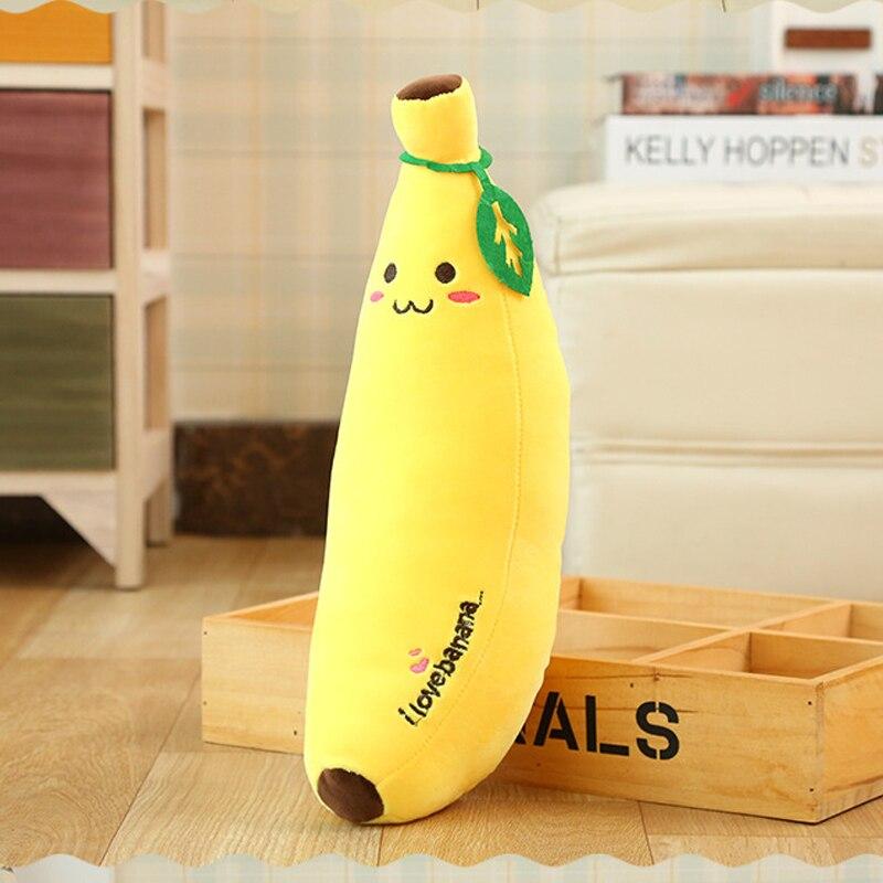 1 Uds. Almohada amarilla suave de peluche con forma de plátano y fruta regalo de Navidad para amigos 3 tamaños diferentes para elegir