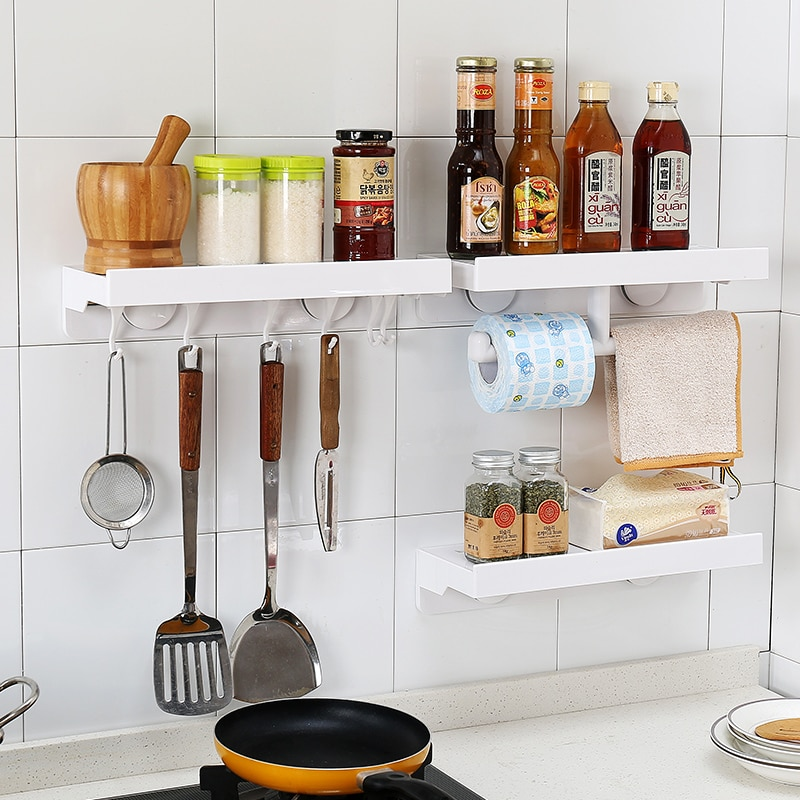 Práctico toallero para cepillo de dientes de baño con ventosa, vajilla, condimento, estante de almacenamiento orgánico para accesorios de cocina