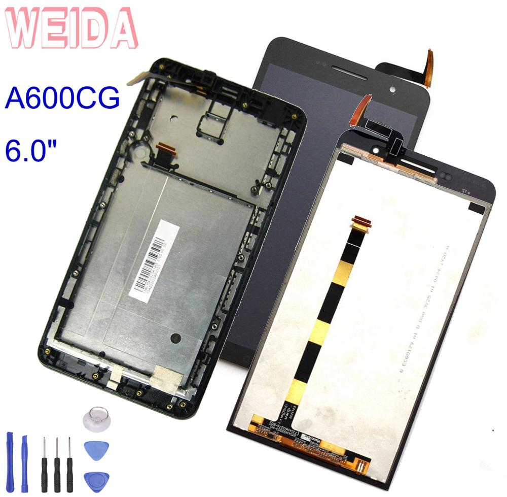 "WEIDA para Asus Zenfone 6 A600CG T00G A601CG LCD pantalla táctil Panel digitalizador montaje marco reemplazo 6,0 ""con herramientas"