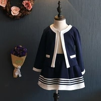 dfxd toddler girls outfits 2017 new autumn long sleeve navy patchwork cardigan coatstriped skirt 2pc girls clothing sets 2 8y
