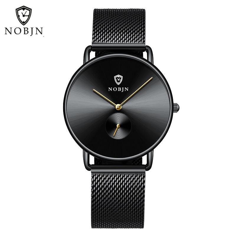 6.5mm Thin Quartz Watches Men NOBJN N06 Watches Man Clock Stainless Steel Mesh Belt Fashion Waterpro