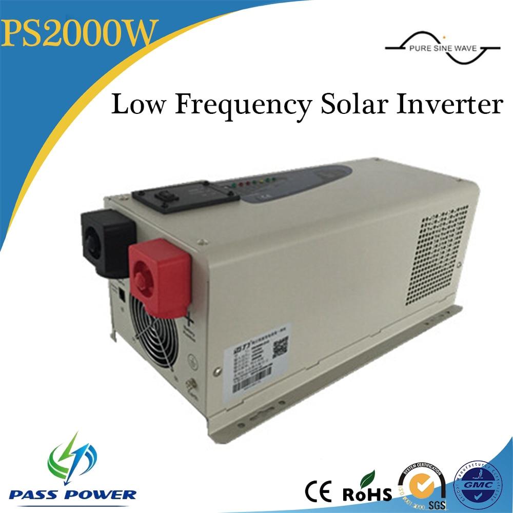 Dc 12V/24V ac 110V/120V/220V/230V/240V العاكس منخفضة التردد محض الشرط موجة 2000w الطاقة الشمسية العاكس مع تهمة